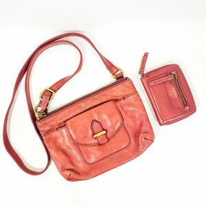 Fossil Bundle Red Leather Crossbody Bag Wallet
